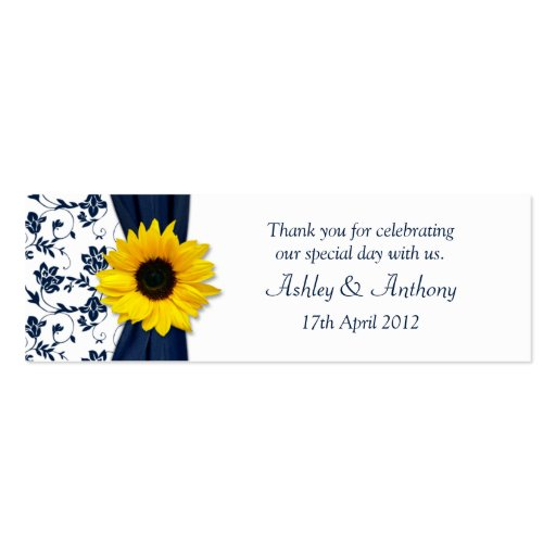 Sunflower Navy Damask Floral Wedding Favor Tags Business Card