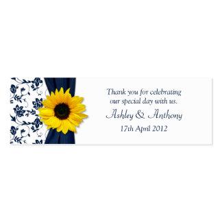 Sunflower Navy Damask Floral Wedding Favor Tags Pack Of Skinny Business Cards