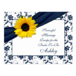 Sunflower Navy Damask Successful Marriage Recipe Post Card