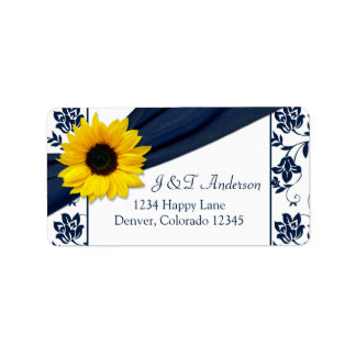 Sunflower Navy Damask Wedding Return Address Label