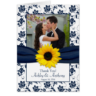 Sunflower Navy Damask Wedding Thank You Card