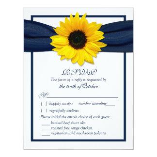 Sunflower Navy Ribbon Wedding Meal Choice RSVP Card