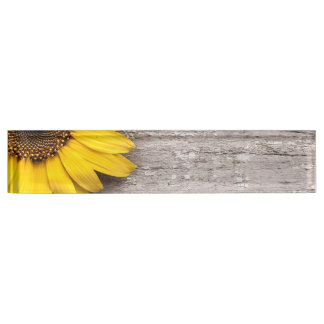 Sunflower on a Wooden Table Nameplate