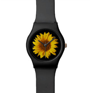 Sunflower on Black Sun Flower Floral Template Watch