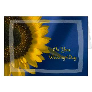 Sunflower on Blue Blended Family Wedding Card