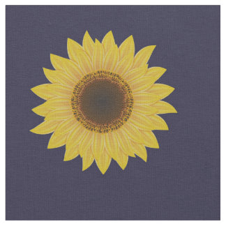 Sunflower on Blue Fabric