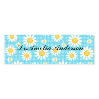 Sunflower on blue, girly, cute, daisy,trendy,moder pack of skinny business cards