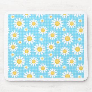 Sunflower on blue pattern fun cute chic modern mouse pad