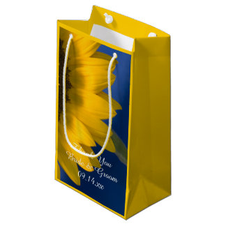 Sunflower on Blue Thank You Wedding Small Gift Bag