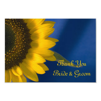 Sunflower on Blue Wedding Flat Thank You Notes Card