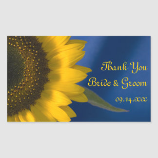 Sunflower on Blue Wedding Thank You Stickers