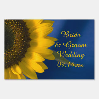 Sunflower on Blue Wedding Yard Sign
