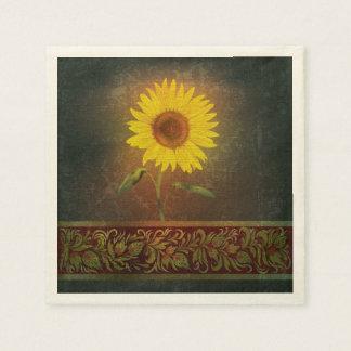 Sunflower On Brown Back Paper Napkins