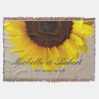 Sunflower on Burlap Rustic Country Wedding Custom Throw Blanket