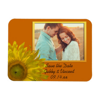 Sunflower on Orange Wedding Save the Date Photo Rectangular Photo Magnet