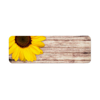 Sunflower on rustic barn wood blank return address label