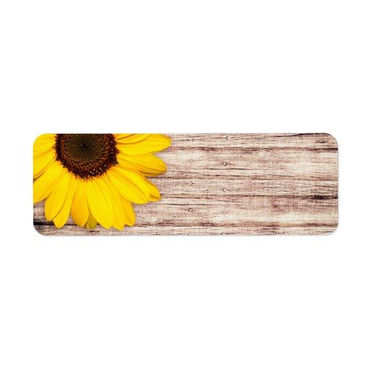 Sunflower on rustic barn wood blank return address label