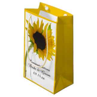 Sunflower on White Wedding Congratulations Small Gift Bag