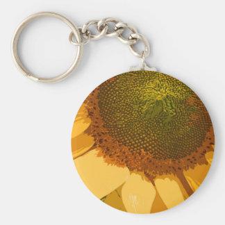 Sunflower painted basic round button keychain