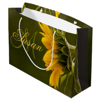 Sunflower Painting and Monogram Large Gift Bag