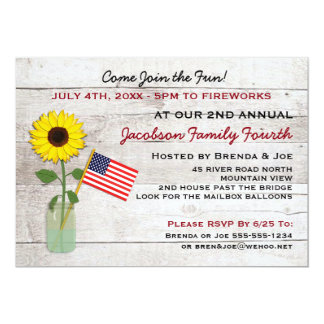 Sunflower Patriotic Party, Reunion, BBQ Invitation