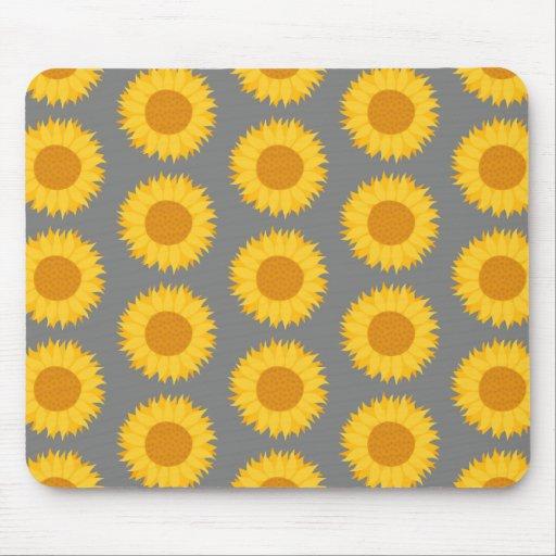 Sunflower Pattern. Yellow and Gray. Mousepads