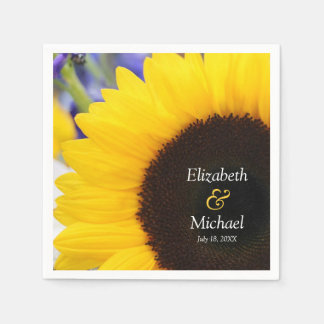 Sunflower Personalized Wedding Disposable Napkins