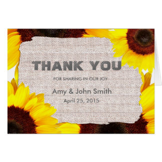 Sunflower personalized wedding thank you card