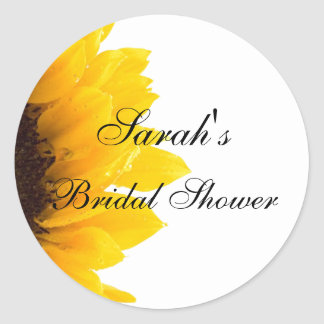 Sunflower Photo Bridal Shower Classic Round Sticker