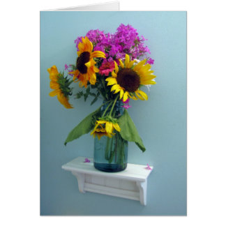 Sunflower Pink Phlox in Vintage Aqua Canning Jar Card