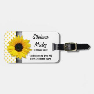 Sunflower Polka Dot Gingham Yellow Black White Luggage Tag