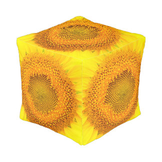 Sunflower Polyester Small Cube Pouf
