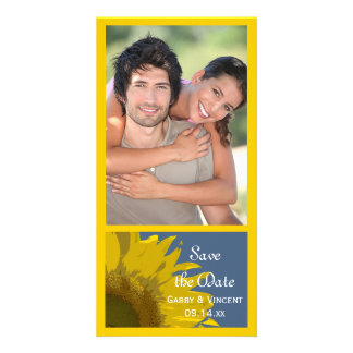 Sunflower Print Wedding Save the Date Photo Card