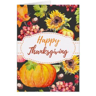 Sunflower Pumpkin Fall Harvest Thanksgiving Card