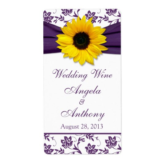Sunflower Purple Damask Wedding Wine Bottle Labels