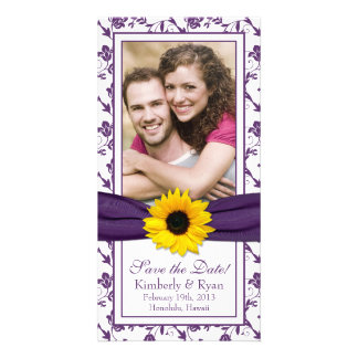 Sunflower Purple Floral Ribbon Wedding Save Date Photo Cards