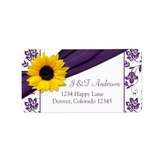 Sunflower Purple Wedding Return Address Labels