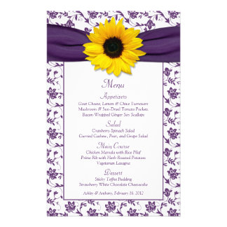 Sunflower Purple White Damask Wedding Menu Card Custom Flyer