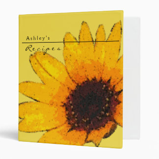 Sunflower Recipe 3 Ring Notebook Vinyl Binders