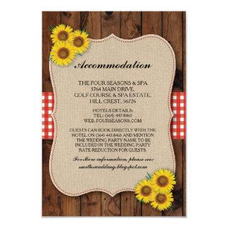 Sunflower Red Accommodation Burlap Wedding Cards