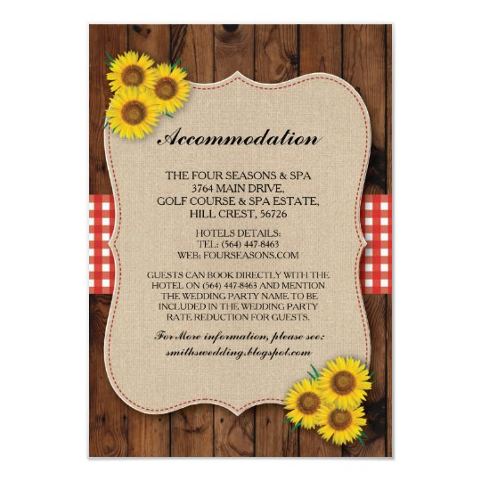Sunflower Red Accommodation Burlap Wedding Cards