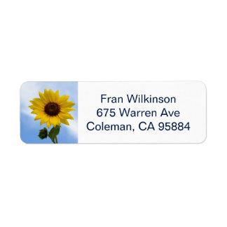 Sunflower return address label