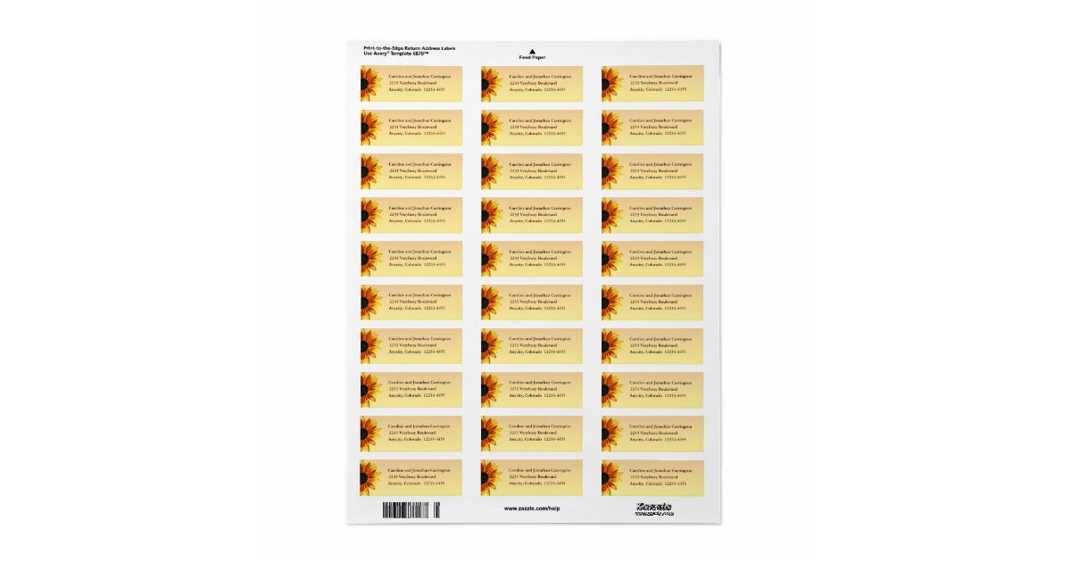 Sunflower return address label zazzle for Avery 6870 template