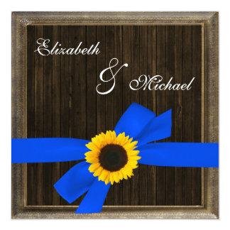 "Sunflower Ribbon Barn Wood Frame Wedding 5.25"" Square Invitation Card"
