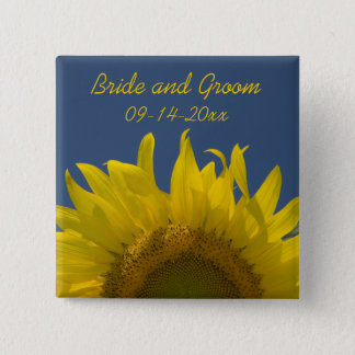 Sunflower Rising Wedding 2 Inch Square Button