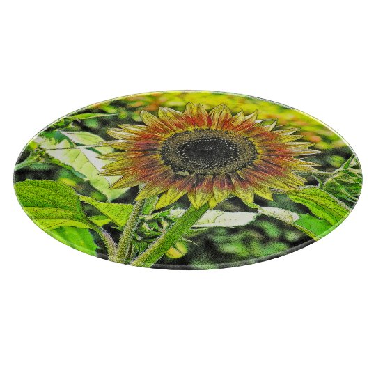 """SUNFLOWER"" ROUND GLASS CUTTING BOARD"