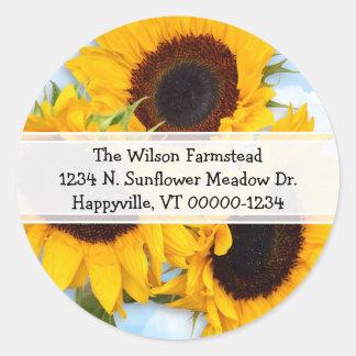 Sunflower Round Return Address Label Round Sticker