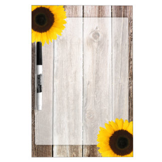 Sunflower Rustic Barn Wood Dry Erase Board