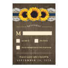 Sunflower Rustic Blue Burlap Wedding RSVP Cards