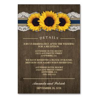 Sunflower Rustic Blue Reception + Hotel Cards
